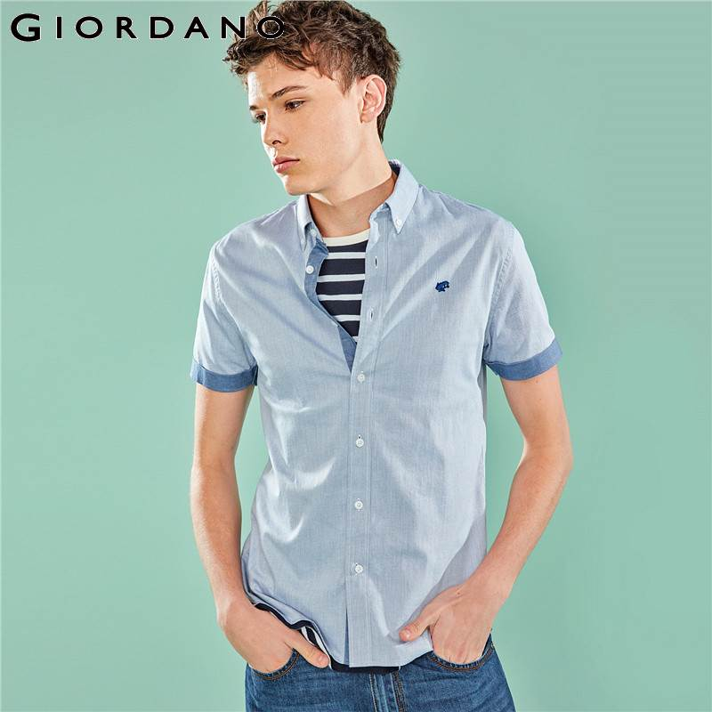 Giordano Men Shirt Men Embroidered Frog Stretchy Oxford Fabric Slim Fit Shirt Homme Short Sleeve Button Front Contrast Color Top-in Casual Shirts from Men's Clothing on AliExpress - 11.11_Double 11_Singles' Day 1