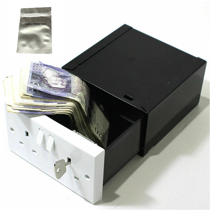 Imitation Double Plug Socket Wall Safe Security Secret Hidden Stash Box Covert Diversion Safe With A Food Grade Smell Proof Bag