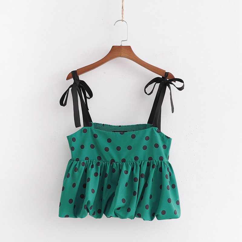 2020 New Green Wave Point Sling Small Shirt Modis Vadiming Sheiner Zaraing Women Blouse Kimono