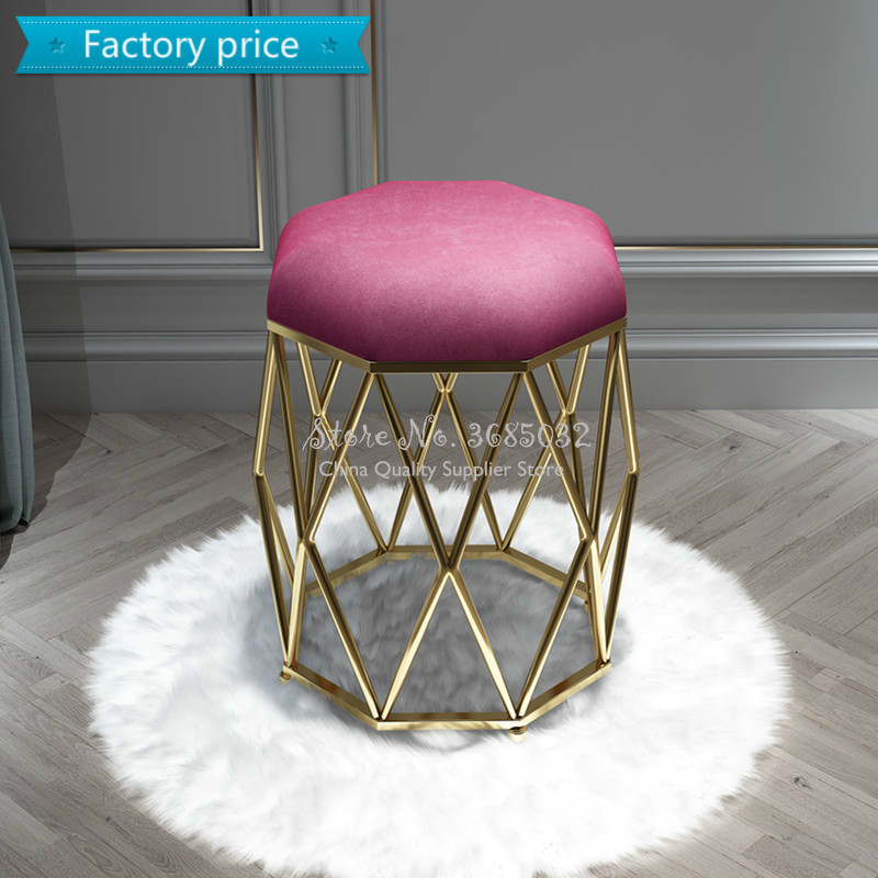 Luxury Nordic Golden Macaron Color Dressing Stool  Change Shoes Small Pink Sofa Stools & Ottomans Living Room Furniture