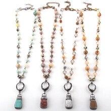 Модные ювелирные изделия из натурального камня и стекла кристалл Цепи чокер с медальоном с камнем ожерелье s для женщин национальное ожерелье