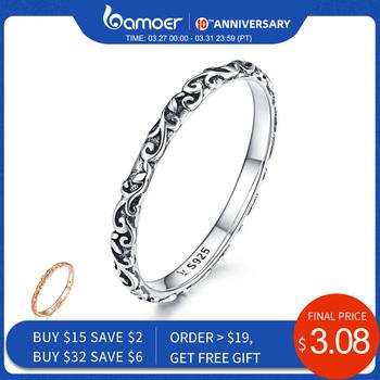 BAMOER grawerowany wzór pierścienia prawdziwe 925 srebro czarny tybetański srebrny mały palec pierścionki Unisex Fine Jewelry scg513 tanie i dobre opinie Kobiety Cyrkon SILVER 925 sterling GDTC Brak Grzywny SCR513 Geometryczne Śliczne Romantyczny Zespoły weselne Zaręczyny