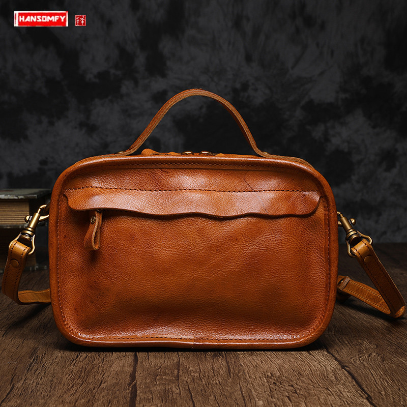 Literary Retro Small Bag Women Handbag 2020 New Leather Female Bag Leather Handbag Shoulder Messenger Bag Small Square Bags