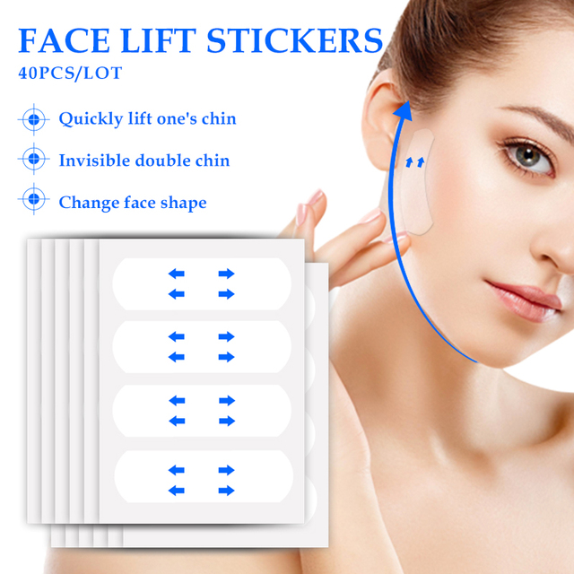 Yoxier Waterproof V Face Makeup Adhesive Tape Invisible Breathable Lift Face Sticker Lifting Tighten Chin 40pcs