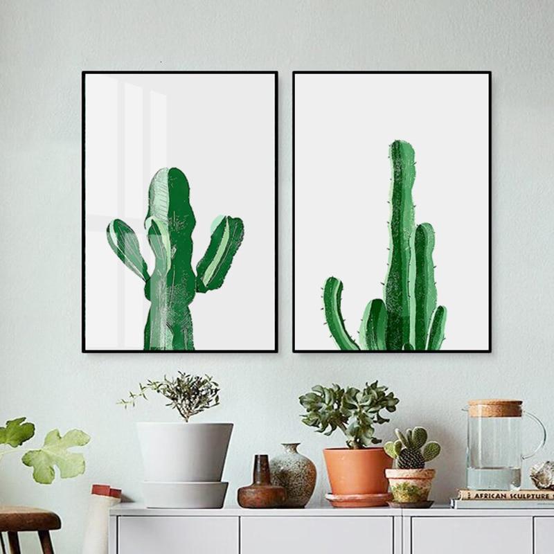 Sea Landscape Canvas Poster Cactus Plants Print Art Painting Wall Decor