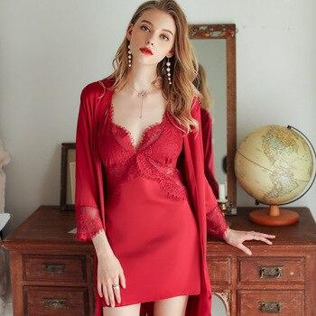 Lisacmvpnel Lace Hollow Out Women Robe Set Beauty Back Chest Pad Sexy Nightdress Cardigan Twinset Pyjamas