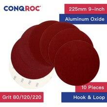 10 stück 9-zoll 225mm Trockenen Schleifen Discs Haken & Loop Aluminium Oxid Sand Papier Discs