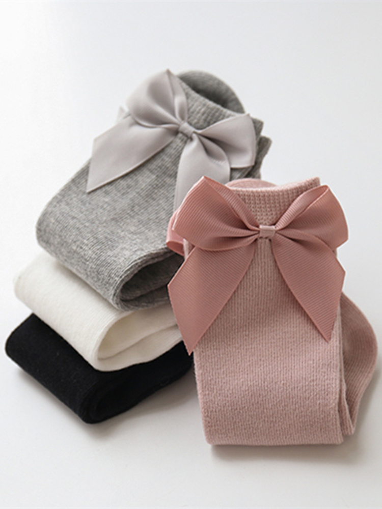 Kids Socks Big Bow Toddlers Baby-Girls Long Knee-High 0-3-Years 100%Cotton New Bowknot