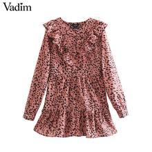 Vadim vrouwen elegante luipaard print mini jurk dier patroon ruches lange mouwen vrouwelijke casual Straight jurken QC860