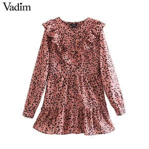 Image 1 - Vadim נשים אלגנטי הדפס מנומר מיני שמלת בעלי החיים דפוס ראפלס ארוך שרוול נקבה מקרית ישר שמלות QC860