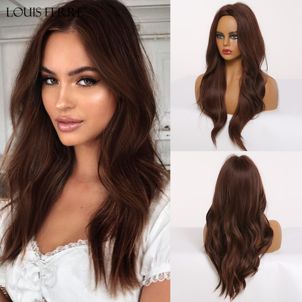 LOUIS FERRE Long Black Brown Water Wavy Synthetic Wigs Middle Part Cosplay Hair Wig For Black Woman Afro High Temperature Fibre