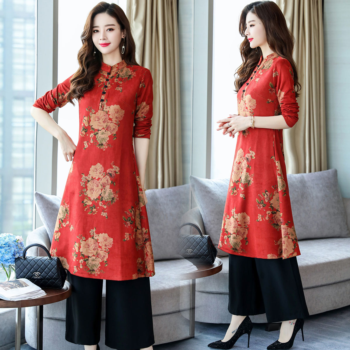 Ethnic Women's Clothing 2018 Autumn New Slimming Retro Improved Cheongsam Dress Pants Set Two-piece Suit