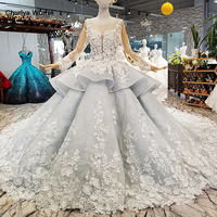 LS017844 royal ball gown evening dresses with 3d petal flowers tulle long sleeves o neck beaded dubai women occasion dress 2018