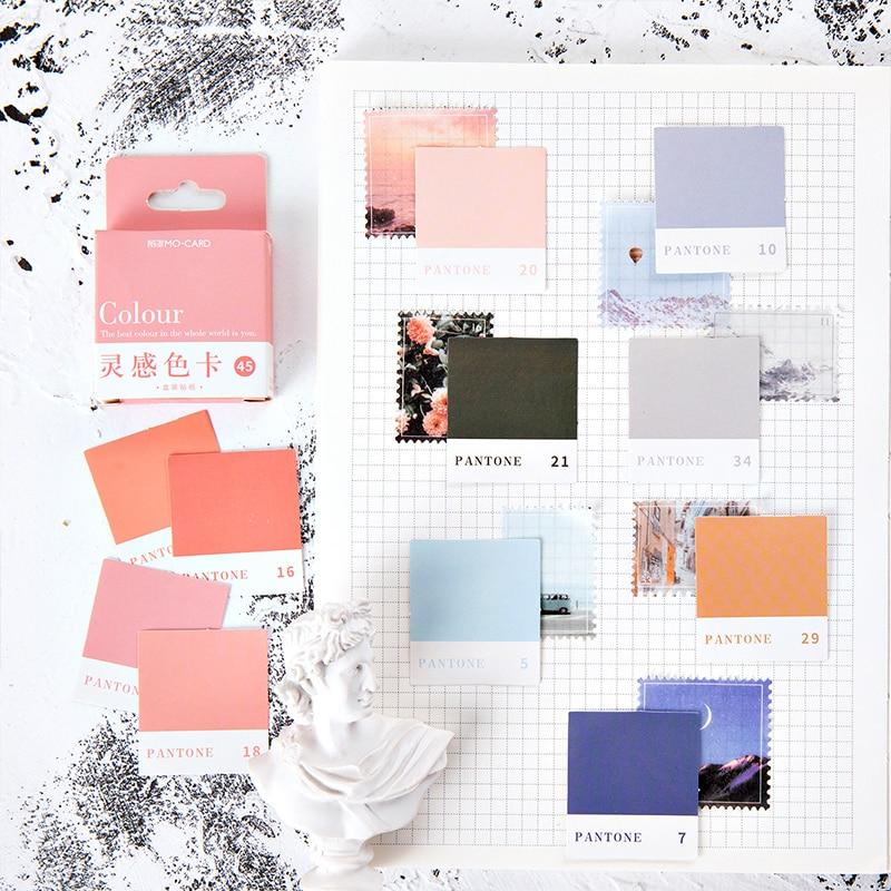 45pcs Pantone Stickers Set 44mm Mini Color Sticker Label Note Journal Diary Album Decoration School Student DIY Seal Gift F398
