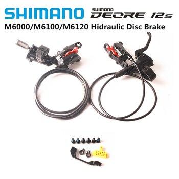 SHIMANO DEORE M6000 M6100 2 Pistons M4100 M6120 4 Pistons Hydaulic MTB Bicycle Disc Brake Front & Rear Bike Brake With Pads