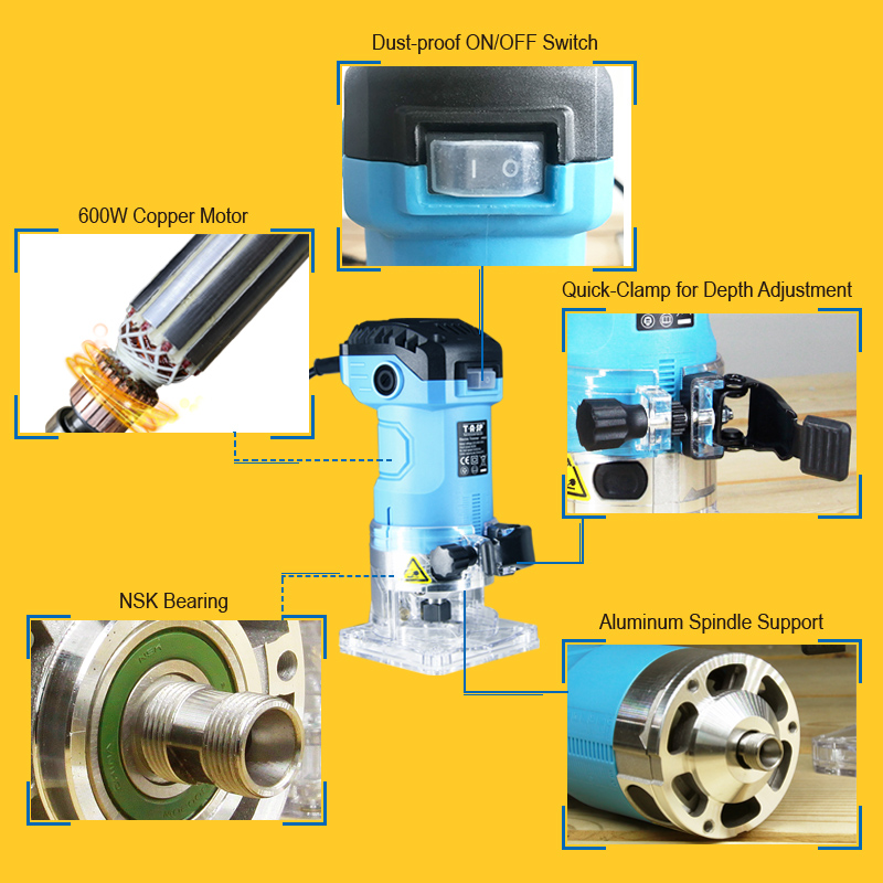Machine Router Wood Power Carpentry 600W 6 Electric Woodworking 35mm Milling Carving Trimmer Collet Edge Tools TASP Laminate