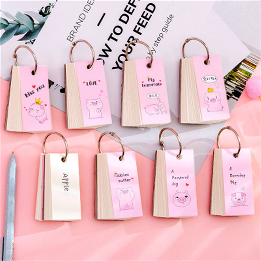 1 Pcs Cute Mini Animal Pig Spiral Notebook Ring Buckle Blank Memory English Word Book Card Notepads Korean Stationery Gift