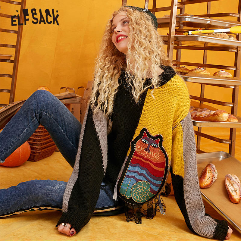 ELFSACK Cat Appliques Colorblock Patchwork Pullovers Sweaters Women 2019 Winter Knitted Lace Contrast Office Ladies Daily Tops