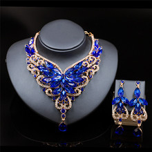 Luxury Fashion Africa Crystal Necklace Earrings Jewelry Set for Women Wedding Party Bridal Jewelry Sets Necklace wedding bridal pearl jewelry set women fashion crystal leaf pendant necklace earrings set