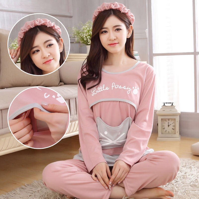 2020 Autumn Maternity Pajamas Breastfeeding Pregnant Women Nursing Pajama Set Top Pants Sleepwear Pregnancy Nightgown Clothes(China)