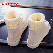 2019 New Fashion Sock Boots Women Shoes Ankle Boots Platform Lace Up Martin Casual Black Sneakers Fur Plush Winter Boots Women недорого