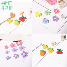 Korean 1-3pcs Cute Small Brooch Cartoon Student Fashion Button Pins Fruit Flower Badge Fixed Clothes Shoes Accessories for Girls