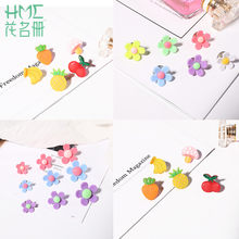 Korean 1-3pcs Cute Small Brooch Cartoon Student Fashion Button Pins Fruit Flower Badge Fixed Clothes Shoes Accessories for Girls(China)