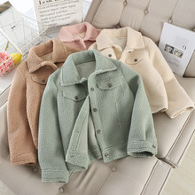 MUMUZI Lamb plush coat short design autumn and winter new fur jackets fashion loose casual jacket tops outwear(China)
