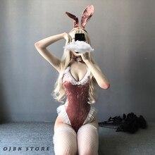 Bonito anime coelho menina cosplay traje de halloween feminino rosa veludo sexy macacão erótico roleplay kawaii lingerie para casal