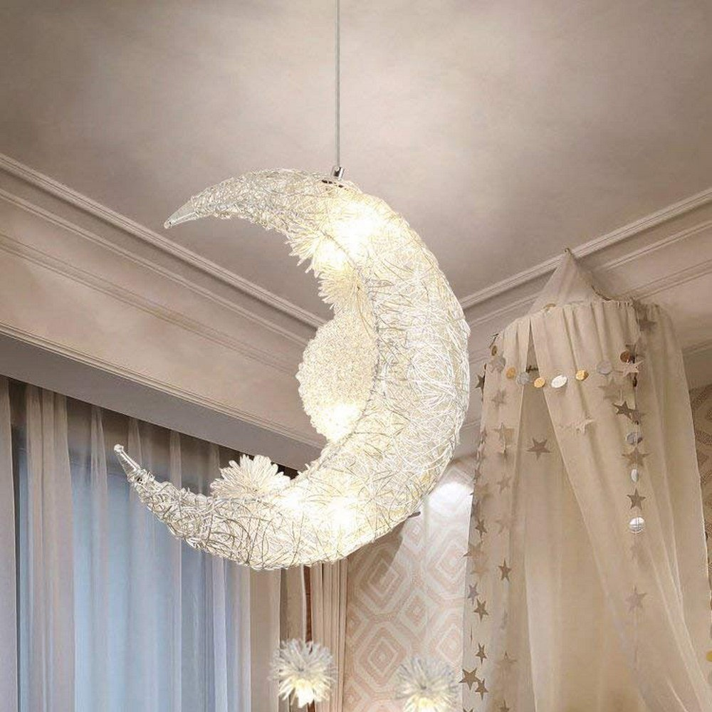 Ceiling Lamps Modern Pendant LED Moon Star Chandelier Children Bedroom Hanging Lamp Home Fixture Light For Christmas Decorations