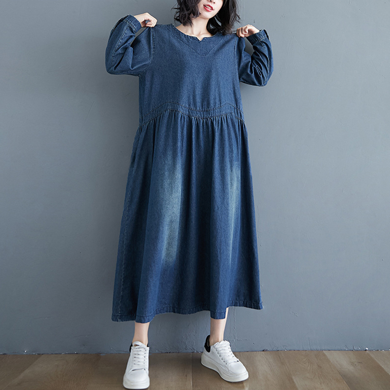 JAVERS Long Sleeve Denim Loose Plus Size Dress Spring Women Casual Vintage Solid Color O-neck Mid-calf Dresses Women Women's Abaya Women's Clothings