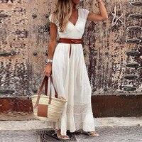 Vestido largo holgado de encaje con cinturón para verano, traje holgado con escote triangular para mujer, estilo bohemio