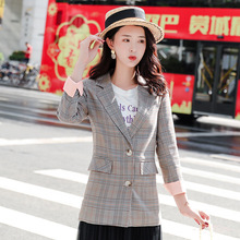 High quality plaid suit jacket female 2019 Autumn Single Breasted Long Sleeve Blazer Casual business office suit Elegant top