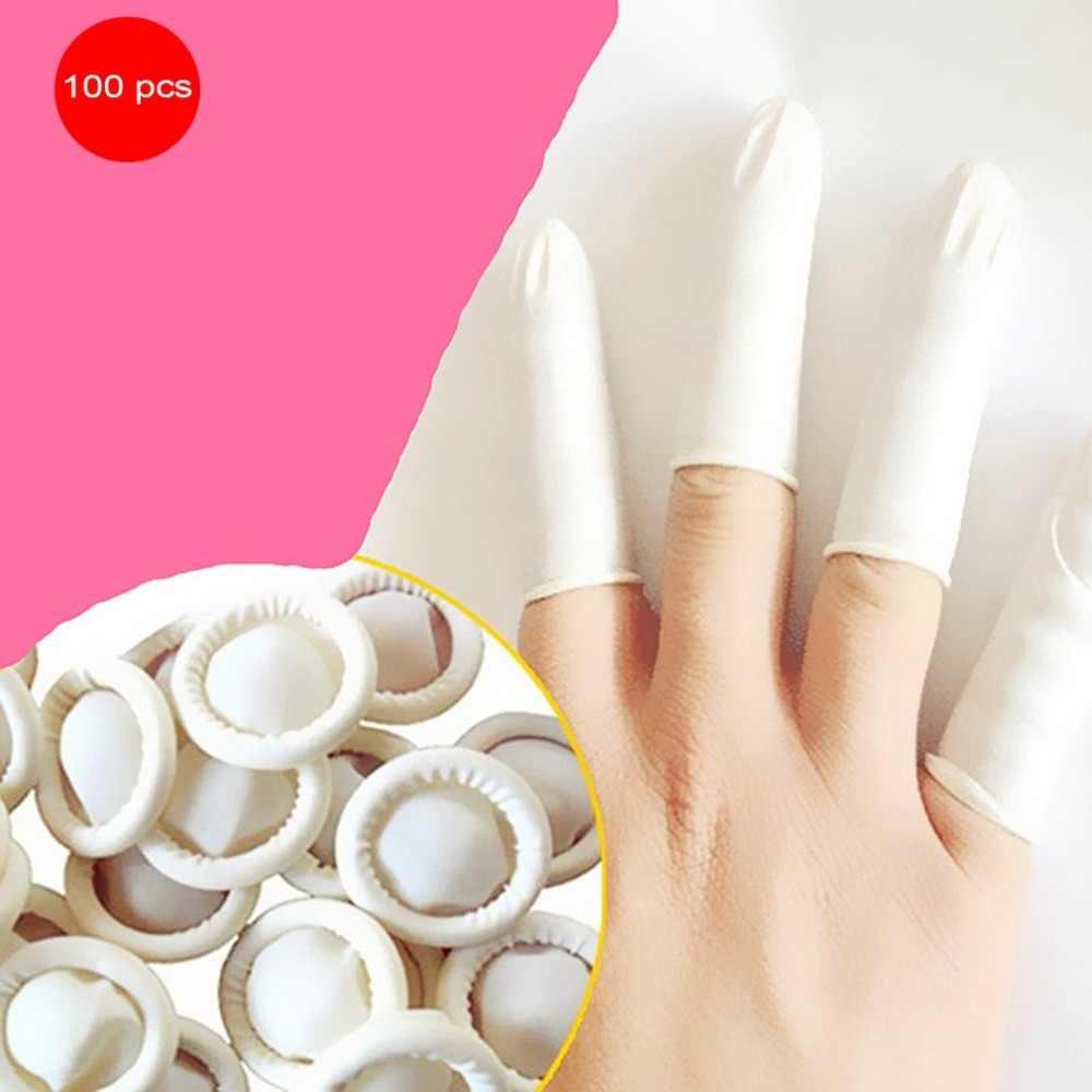 100 قطعة/المجموعة دائم اللاتكس الطبيعي مكافحة ساكنة غطاء للأصابع تصميم عملي ماكياج سهل الإزالة وصلات حواجب قفازات أدوات