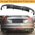Карбоновый Автомобильный задний бампер  диффузор для Audi TTS 2008-2014 TT 2013 2014  задний диффузор  спойлер FRP черный