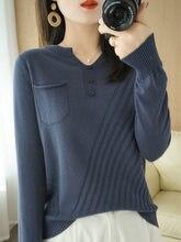 Jersey de algodón con cuello en V para mujer, suéter informal, tops de color liso de talla grande, ropa para mujer, Jersey delgado de punto 2021