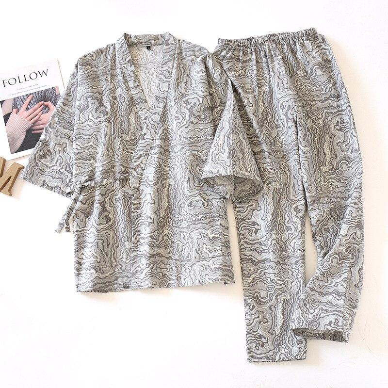 Spring Mens 100% Cotton Hanfu Bathrobe Kimono Pajama Set V-Neck Three Quarter Pajamas Men Pijamas Big Size Mansleepwear 2 Piece