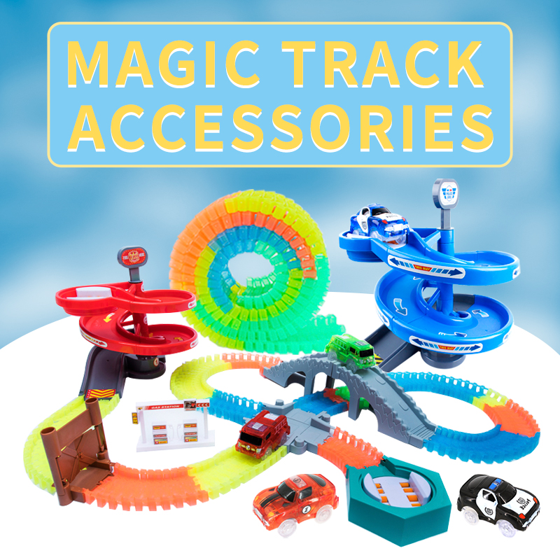 Curved Track Roller Coaster Toy Magical Track Assembly Education Magic Glowing Racing Toy Flash Lifts Children