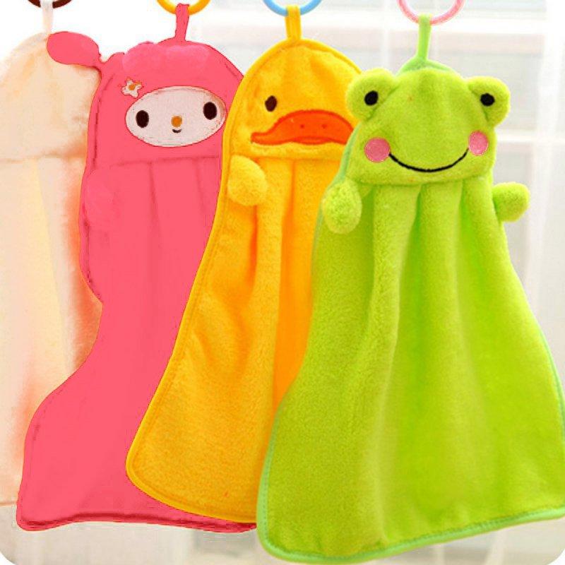 Baby Super Soft Coral Fleece Bath Towel Baby Nursery Hand Towel Cartoon Animal Wipe Hanging Bathing Towel For Children Bathroom