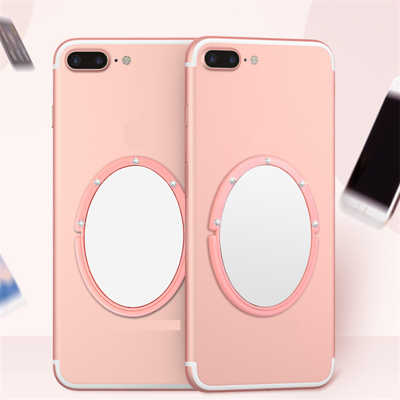 UVR ラインストーン指リングサークルミラースマート電話スタンドホルダー金属携帯電話ホルダースタンド iPhone Xiaomi すべての電話
