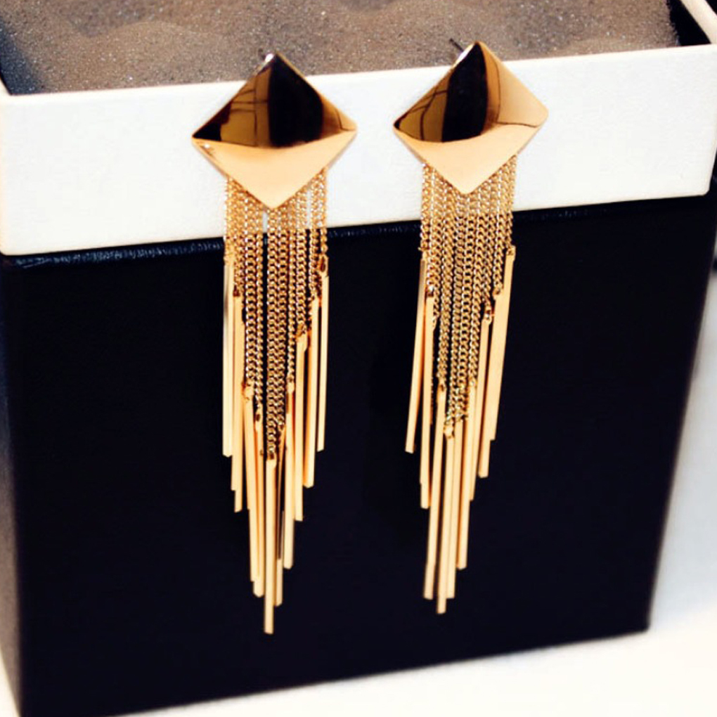 1 Pair Fashion Exaggerated <font><b>Long</b></font> Gold Large <font><b>Earrings</b></font> Square <font><b>Sexy</b></font> Vintage Tassel Pendant <font><b>Earrings</b></font> Jewelry For <font><b>Women</b></font> Female Gift image