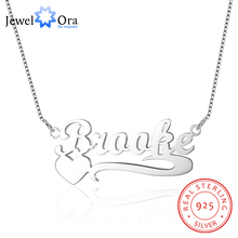 JewelOra DIY 925 Sterling Silver Name Necklace Personalized Heart Necklaces & Pendants Best Lovers Gift With Box