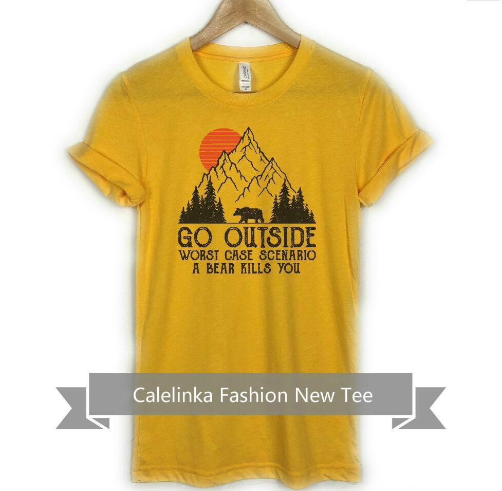 Unisex Vintage Go Outside Camping Mountain <font><b>Tshirt</b></font> Cute Bear <font><b>Oversize</b></font> Cotton <font><b>Graphic</b></font> Tees Funny Traveling Top Tumblr <font><b>Tshirt</b></font> Women image