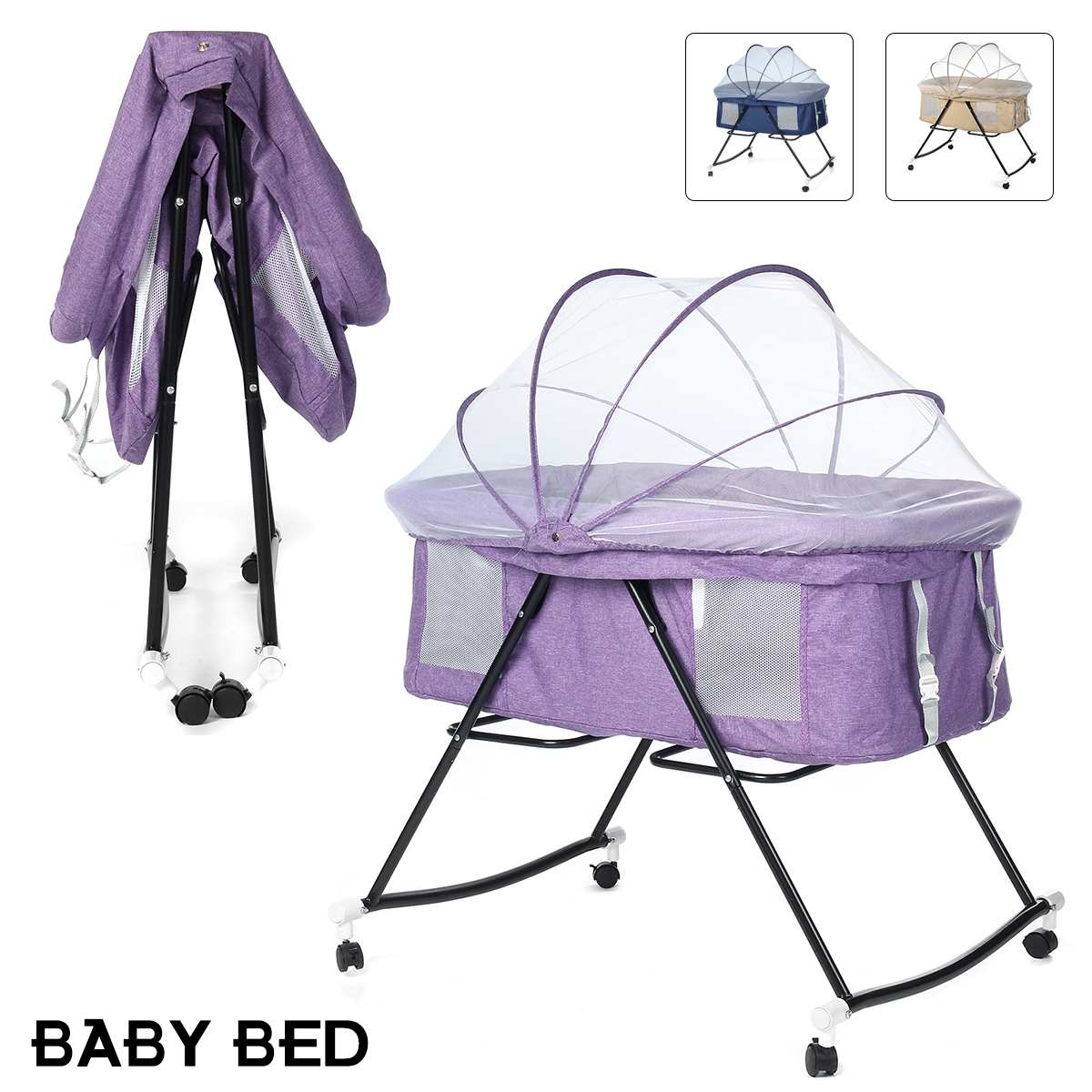 3 Colors New Multifunction Foldable Sleeping Crib Baby Bed Splicing Cradle Bed Mosquito Net With Wheels For In/Outdoor