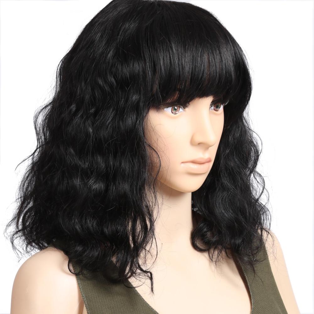 Human Hair Short Cut Bob Wig With Bangs Brazilian Wavy Wig Shoulder Length Non-Remy Human Hair Wig For Women Glueless Machin Wig