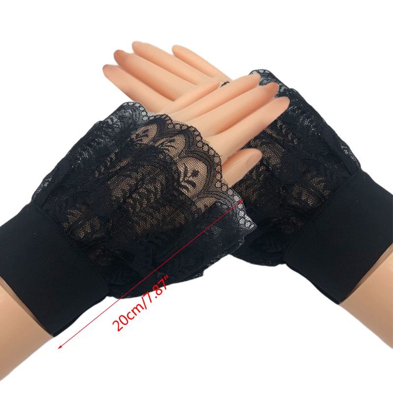 Women Girl Layered Sheer Lace Horn Cuffs Leaves Patterned Detachable Fake Sleeve