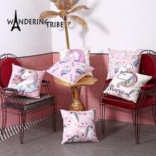 Funda de almohada con diseño de unicornio rosa, cojines decorativos para fiesta, sofá cama, decoración para el hogar, funda de almohada decorativa con dibujos animados