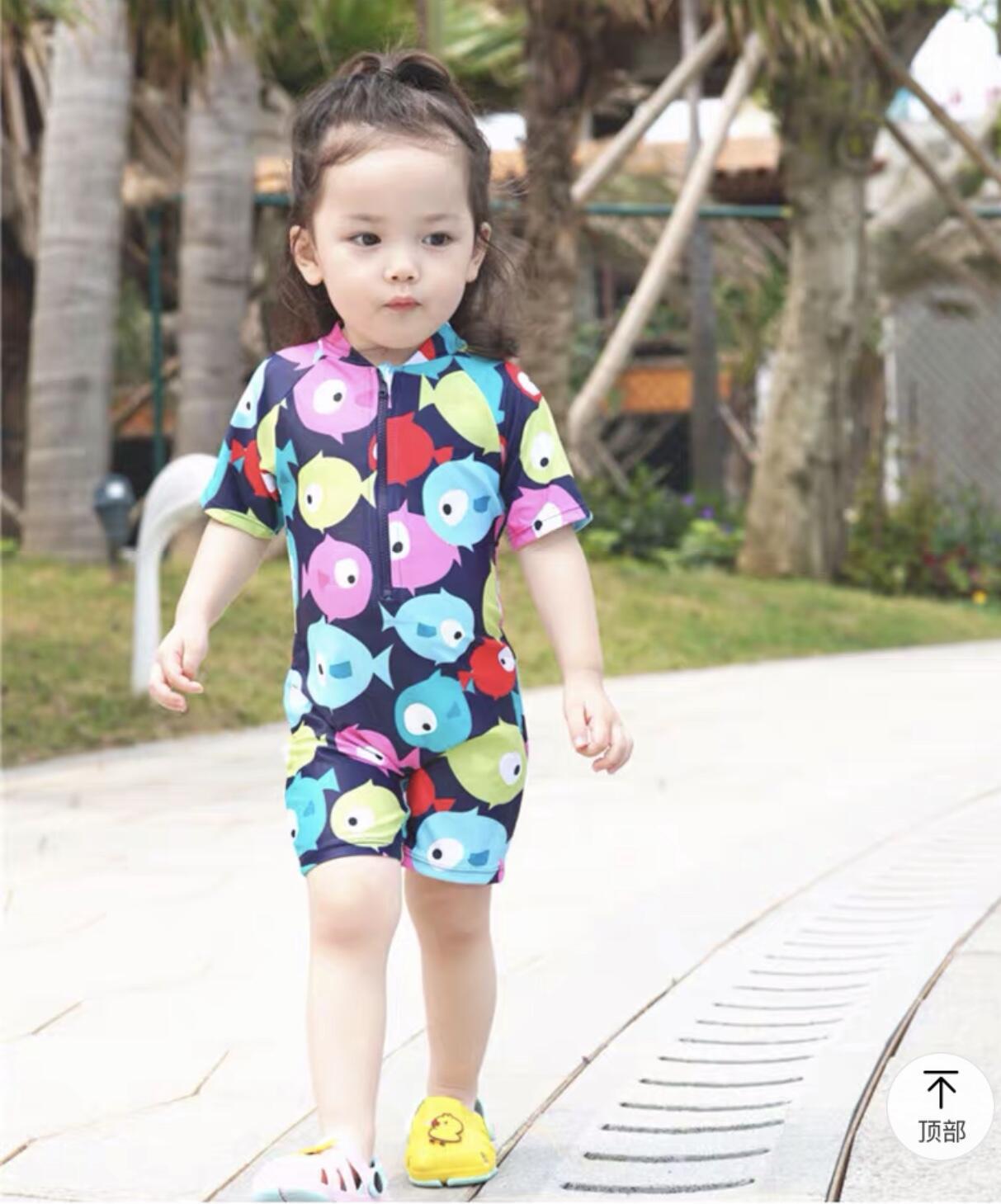 KID'S Swimwear BOY'S Girls One-piece Big Boy Small CHILDREN'S Long Sleeve Beach Sun-resistant Boy Baby Cute Bathing Suit