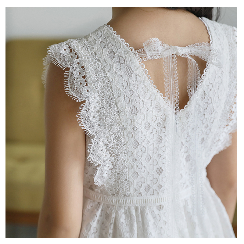 Kids Princess White Lace Dress For Girl 10 12 Years Summer Sleeveless A-line Wedding Party Children Dress Teenage Girl Outfit
