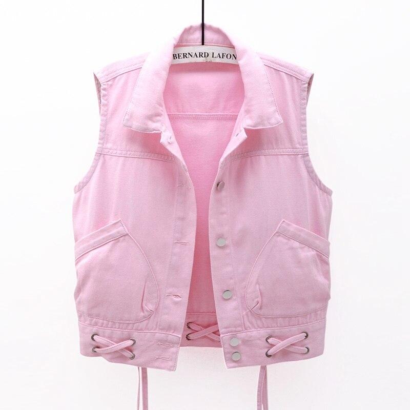 Spring Autumn Vintage Denim Vest Women Fashion Lace Up Slim Thin Plus Size Waistcoat Sleeveless Jacket Short Jeans Vest 3XL G223